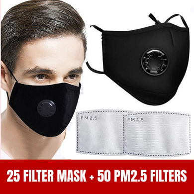 Bulk Fashion PM2.5 Filter Face Mask With Extra Carbon Filter Respirator Mask - 25 Pieces