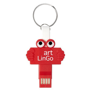 Promotional Custom Logo Clipster Buddy 3- In -1 Charging Cable Key Ring