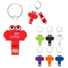 Load image into Gallery viewer, Promotional Custom Logo Clipster Buddy 3- In -1 Charging Cable Key Ring