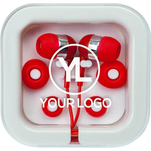 Load image into Gallery viewer, Custom Promotional Earbuds Colored In Square Case
