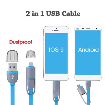 Custom Logo 2 In 1 Micro Usb Cable Android Port Mobile Phone Cables