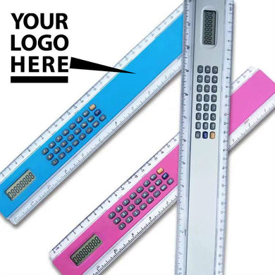 Promotional Custom Logo 12 Inch Ruler with Calculator Two in One Functionality for Schools, Businesses, Daily Use