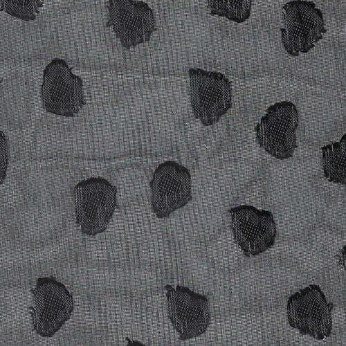Black #S/A Embroidered Heart Sheer Woven Print Fabric - SKU 3276