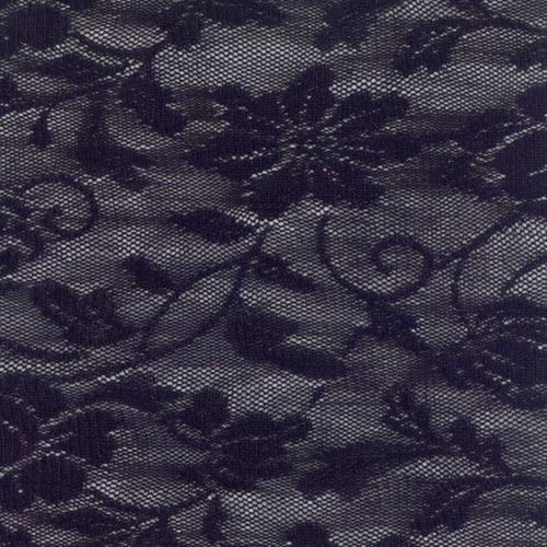 Black Evening Wildflowers Stretch Lace Knit Fabric