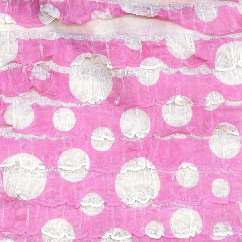 Pink White Stretch Girly Ruffle Dots Knit Fabric