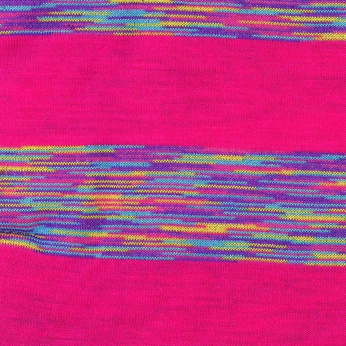 Fuschia/Multi Rayon/Lycra Stripe Jersey Knit Fabric