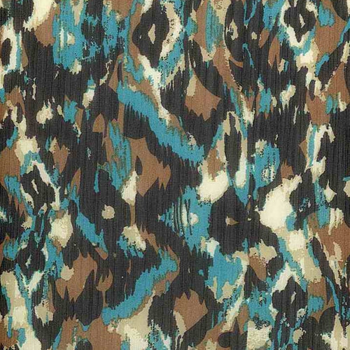 Teal/Brown Estro Chiffon Print Woven Fabric (100 Yards Roll) - SKU MYL