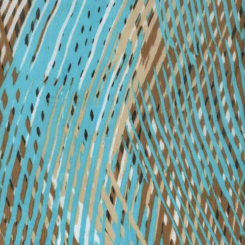 Tan/Teal Oblique Chiffon Print Woven Fabric (100 Yards Roll) - SKU MYL