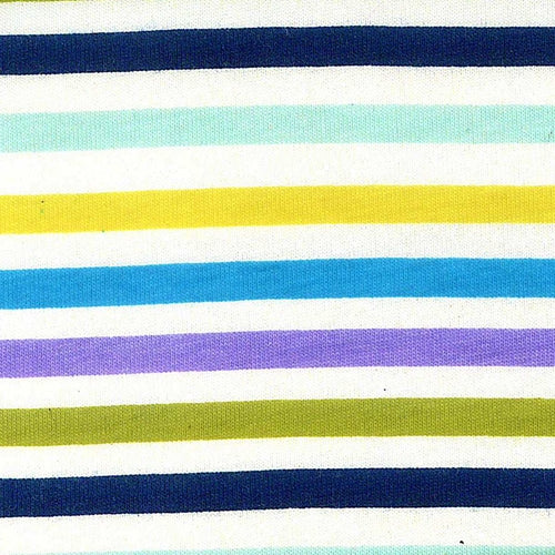 Turquoise Olive Cotton Lycra Stripe Jersey Knit Fabric
