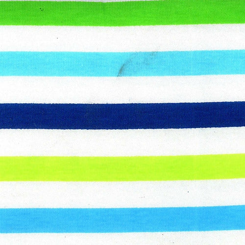 Turquoise Navy Cotton Lycra Stripe Jersey Knit Fabric