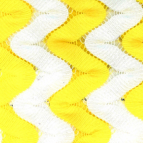 Yellow White 1 Inch Zig Zag Stretch Crochet Lace Knit Fabric