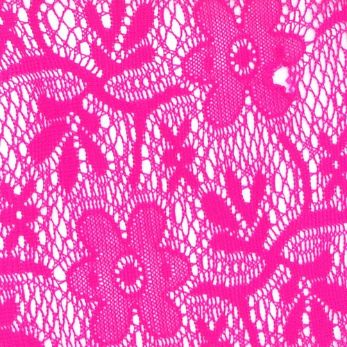 Hot Pink Lily Crochet Lace Knit Fabric