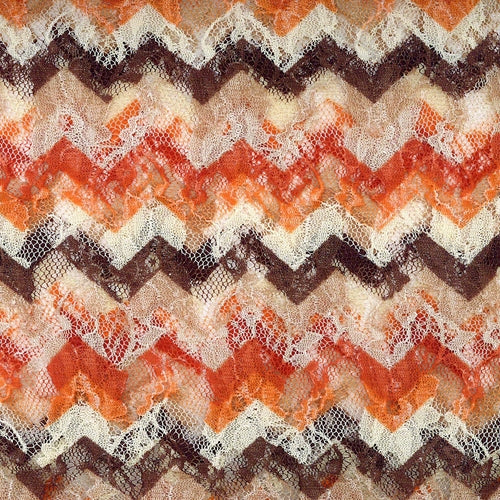 Orange Chevron Lace Knit Fabric
