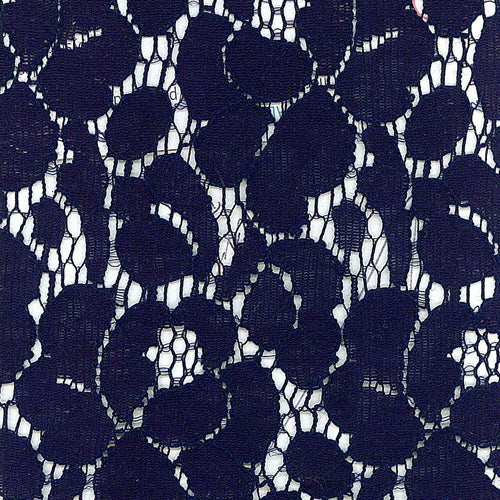 Midnight Navy Stretch Lace Knit Fabric