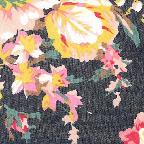 Black Bouquet Sheer Print Woven Fabric