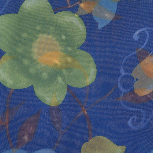 Royal Flower Sheer Print Woven Fabric
