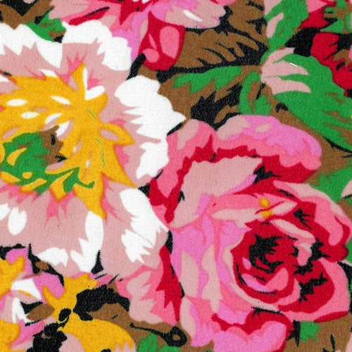 Black/Pink/Green Chiffion Print Woven Fabric