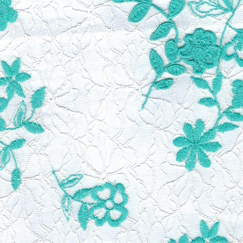 Aqua Embroidery Lace Knit Fabric