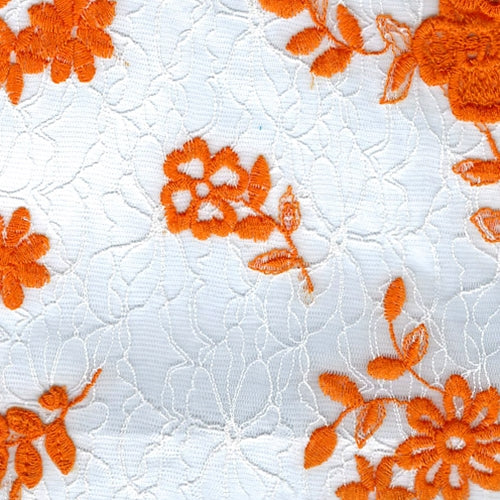 Orange Embroidery Lace Knit Fabric