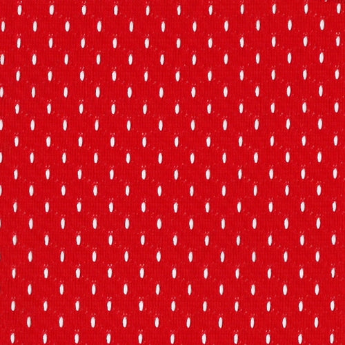 Bright Red Football Mesh Knit Fabric