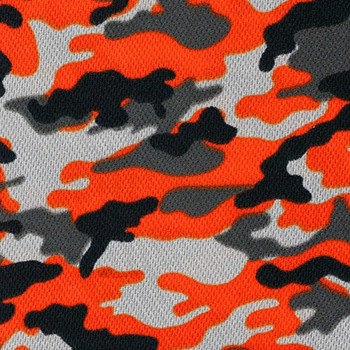 Orange Dimple Mesh Camouflage Knit Fabric