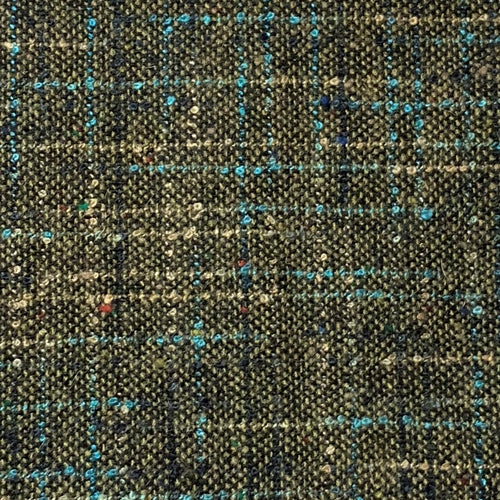 Olive Suiting Plaid Woven Fabric