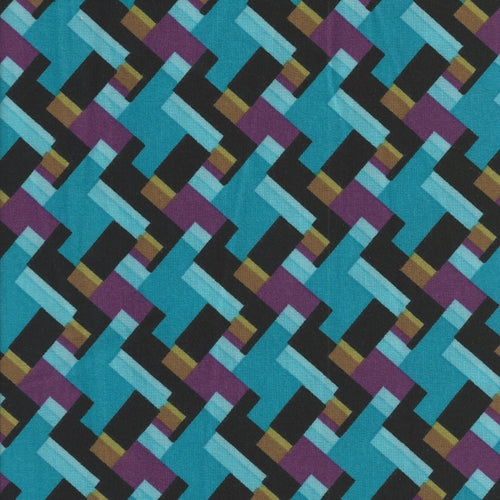 Keira Turquoise Stretch Ponte Print Double Knit Fabric