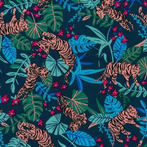 "Teal Tiger Crafty Print 100% Cotton Woven Fabric 45""- SKU 5840E 4 Yard Package"