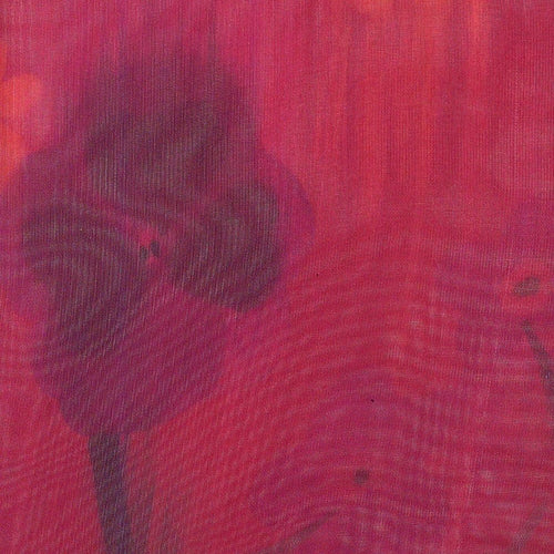 Red Flower Sheer Print Woven Fabric