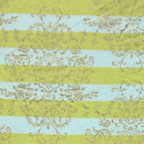 Apple/Aqua/Gold Foil Stripe Jersey Knit Print Fabric