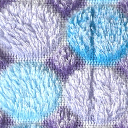 Aqua/Purple Minky Popcorn Polar Fleece Knit Fabric