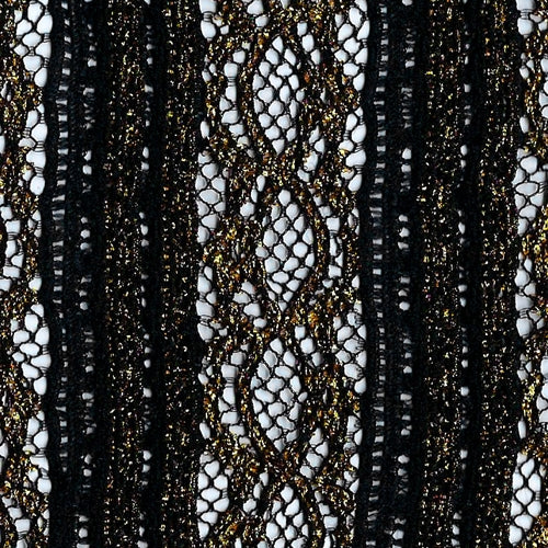 Black Sequin Metallic Lace Knit Fabric