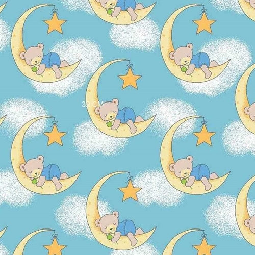 Blue Dreamy Bear Polar Fleece Knit Fabric