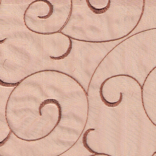 Copper Embroided Organza Woven Fabric (Sold by the Roll) - SKU BT
