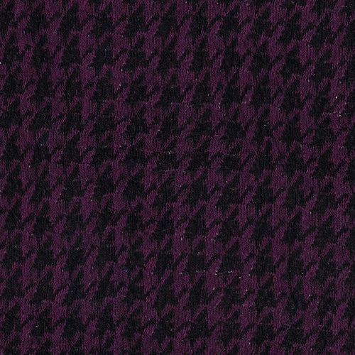 Grape Houndstooth Jersey Jacquard Knit Fabric