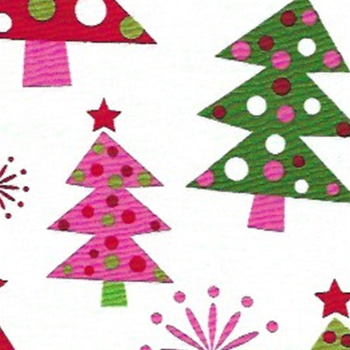 Green X-Mas Tree Holiday Cotton Print Woven Fabric