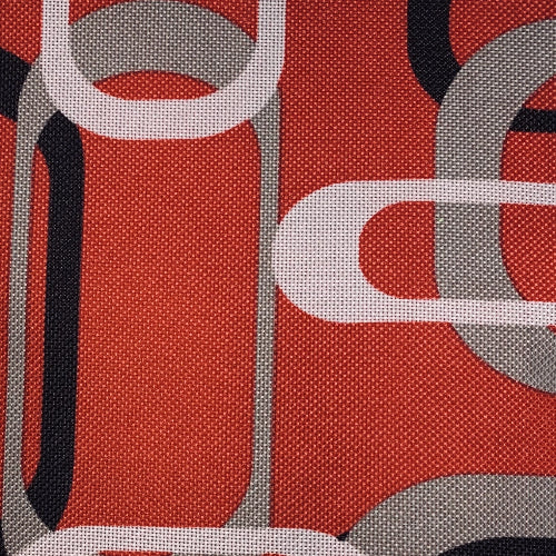 Red/Grey Retro ProTuff Print Waterproof 20 Ounce Canvas Woven Fabric
