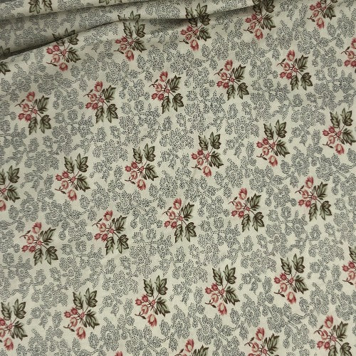 "Cream #U63/164 Crafty Leaves Print 100% Cotton Woven Fabric 45""- SKU 5840A 4 Yard Package"