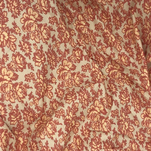"Tangerine/Khaki #U63/164  Boundless by Crafty Damask Print 100% Cotton Woven Fabric 45""- SKU 5840D"