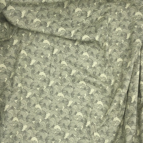 "Grey Marine Life Crafty Print 100% Cotton Woven Fabric 45""- SKU 5840E 4 Yard Package"