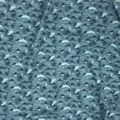 "Teal Dolphin Waves Sky Crafty Print 100% Cotton Woven Fabric 45""- SKU 5840E 4 Yard Package"