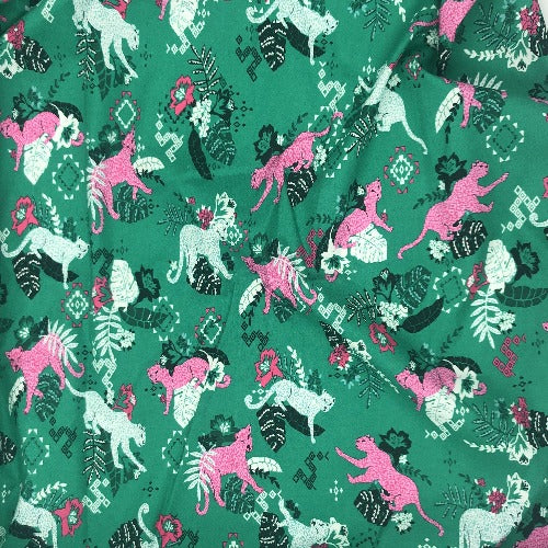 "Jade Cheetah Crafty Print 100% Cotton Woven Fabric 45""- SKU 5840E 4 Yard Package"