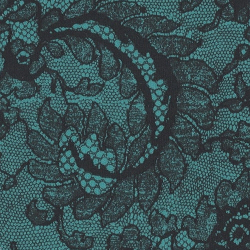Morning Lace Aqua/Black 70 Denier Interlock Print Knit Fabric