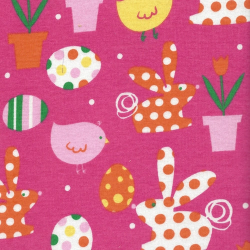 Pink Eastertime Cotton Rib Print Knit Fabric