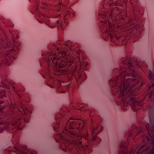 Red Lurex Rose Rosette Evening Metallic Sheer Knit Fabric