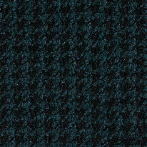 Teal Houndstooth Jersey Jacquard Knit Fabric
