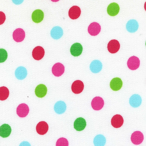 White Dots French Terry Cotton Print Knit Fabric