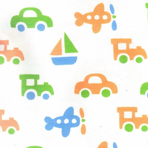 White/Green Boat/Train/Air Plane Interlock Print Organic Knit Fabric