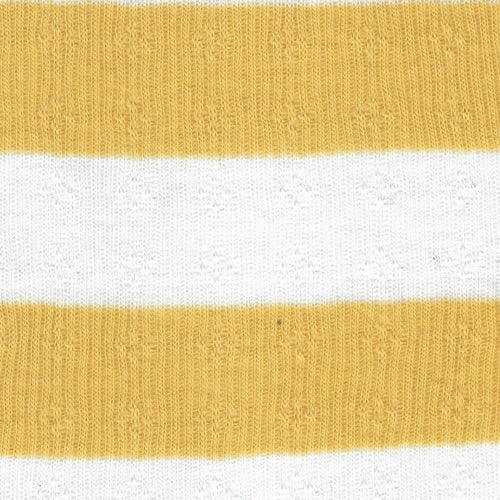 Yellow/Ivory 2 x 2 / Clover Leaf Pointelle Texture Rib Knit Fabric