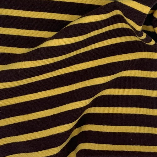 Brown Yellow #UB/SS Stripe Cotton Spandex Jersey Knit Fabric - SKU 4522C